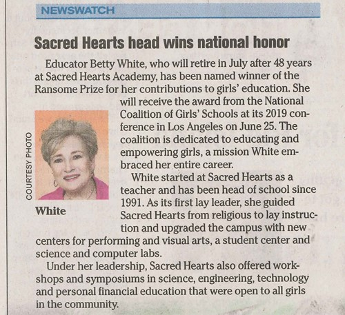 Sacred Hearts Academy Betty White Honored